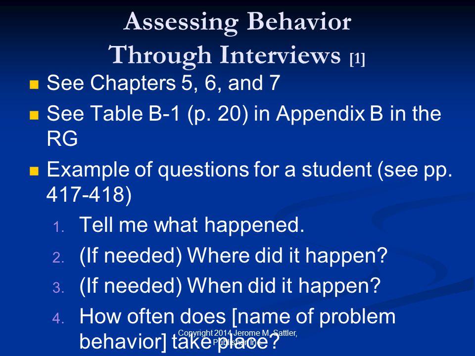 Assessing Behavior Through Interviews [1]